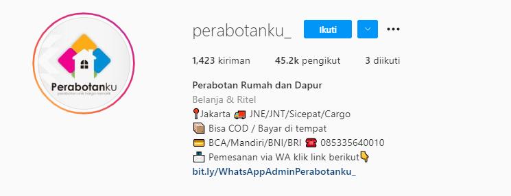 Bio Instagram Peralatan Rumah Tangga